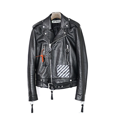 オフホワイトBRUSH DIAGONAL LEATHER JACKET